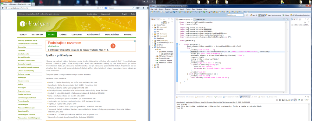 Groovy ako lepidlo medzi Canoo Webtest a Selenium  – IV.
