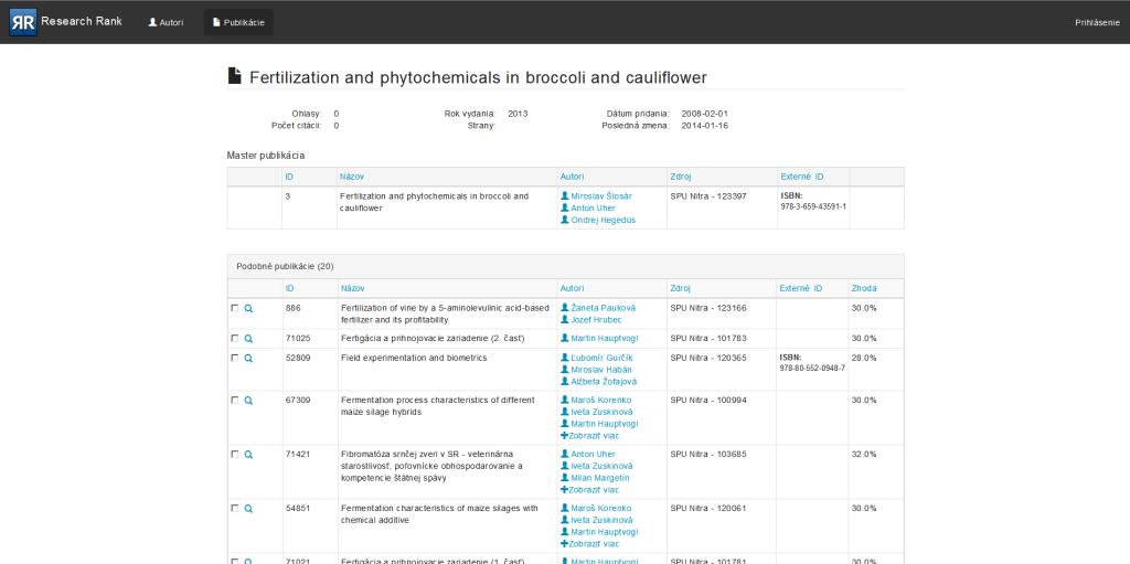 TP CUP 2014: ResearchRank - automatické získavanie ohlasov a ich normalizácia
