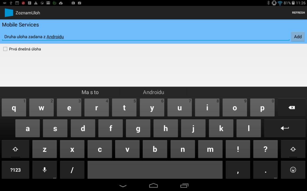 Azure: Windows 8.1  - vytvorenie Android aplikácie využívajúcej mobilnú službu