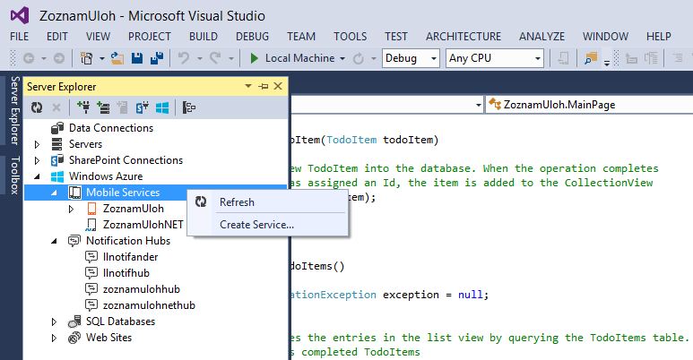 Visual Studio - vytvorenie služby
