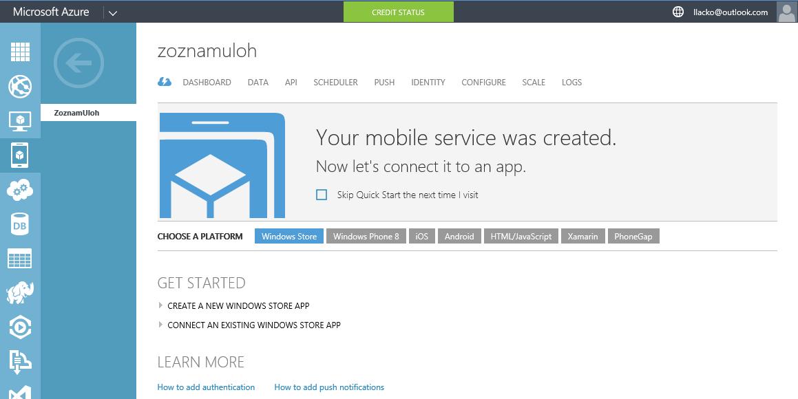 Vytvorenie sluzby mobilnej aplikácie