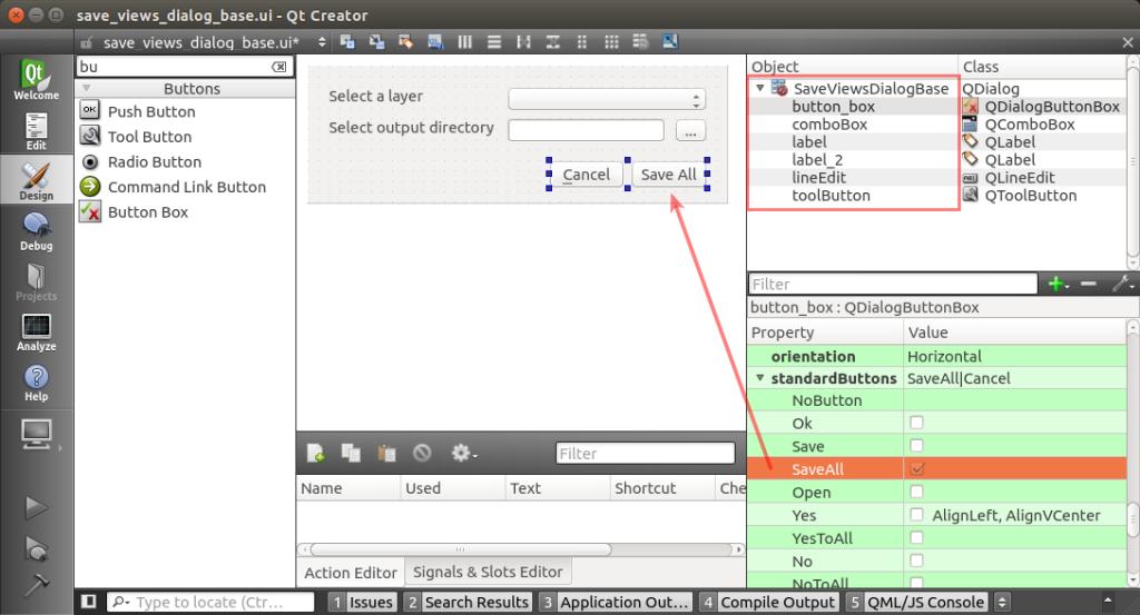 Dialógové okno vytváraného pluginu v prostredí aplikácie Qt Creator.