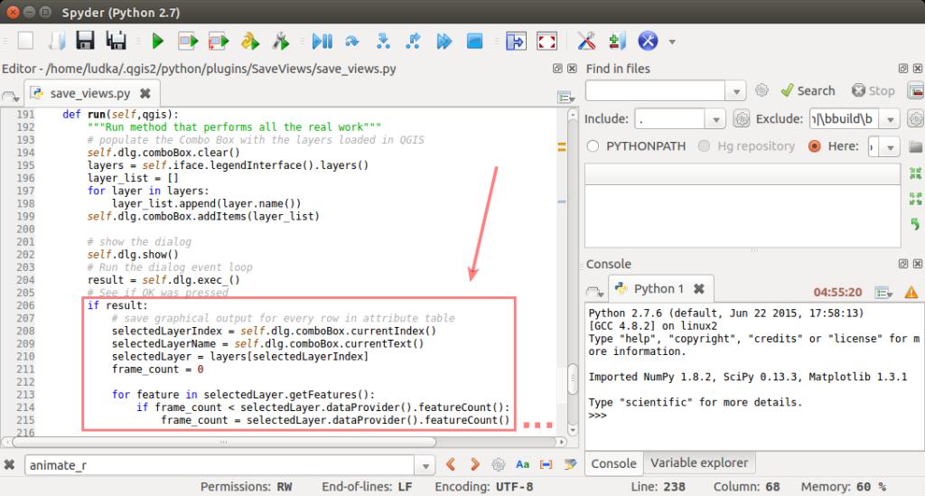 Editácia Python súboru.
