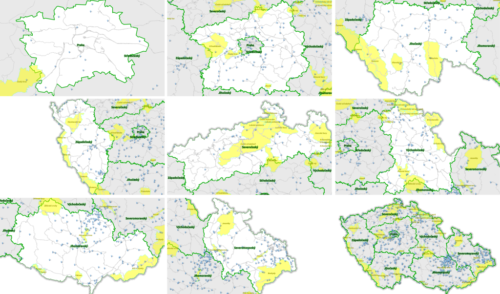 Grafické súbory uložené vo zvolenom adresári pre vektorovú vrstvu krajov Českej republiky.