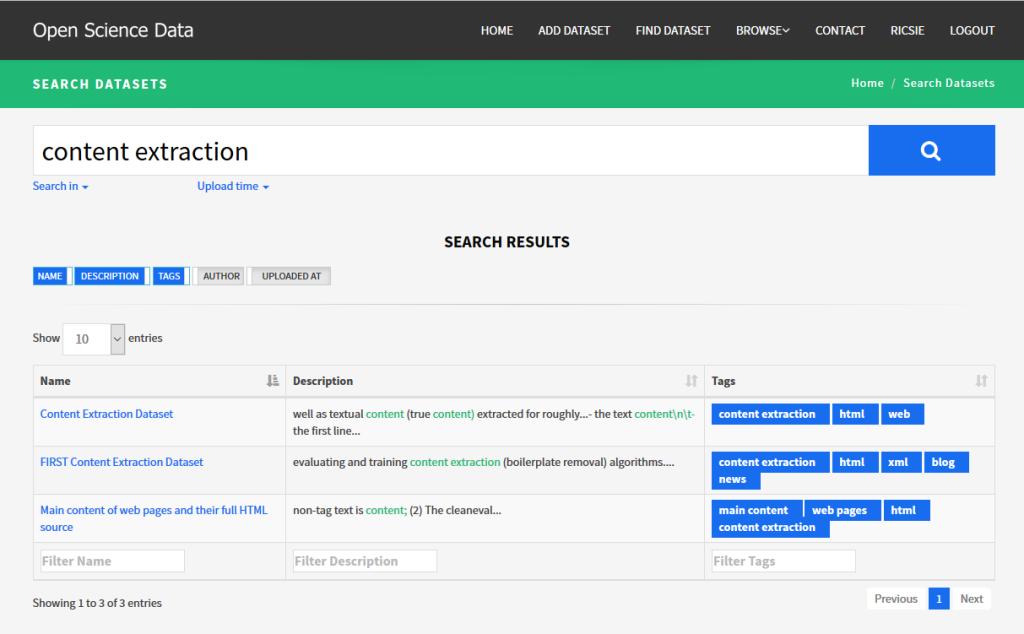 Webový portál OpenScience - pre otvorené dáta