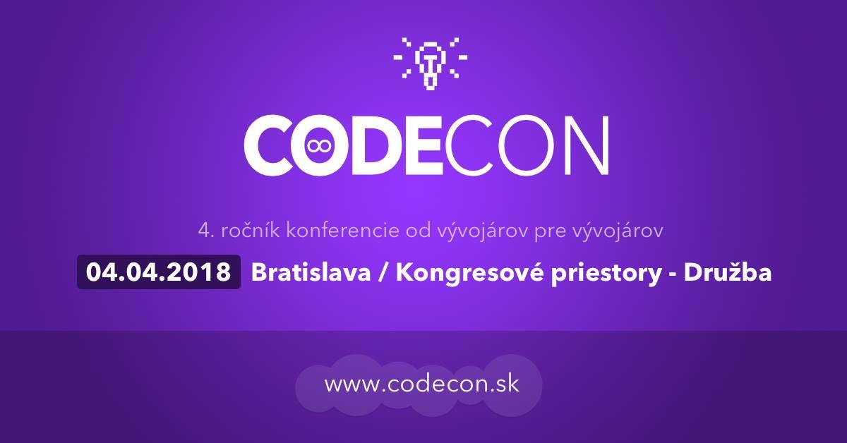 CodeCon 2018 - od vývojárov pre vývojárov