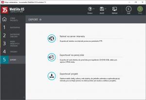 Možnosti exportu vašej hotovej stránky alebo konceptu stránky.