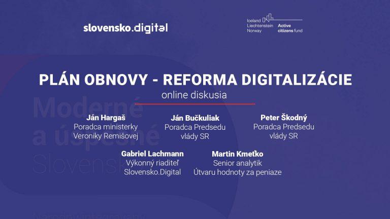 Diskusia: Aké reformy čakajú digitalizáciu z Plánu obnovy?